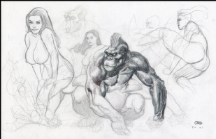 Publsihed Nude pinup from sketchbook/ Gorilla Comic Art